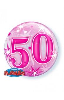 """Globo """"50"""" Rosa Burbuja, 56 cm."""