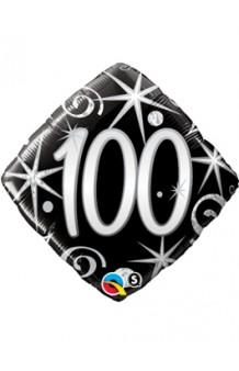 """Globo """"100"""" Ellegance Negro, 46 cm."""