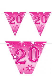 "Banderines ""20"" Rosas, 360 cm."