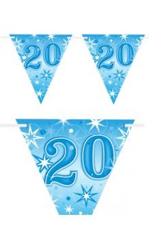 "Banderines ""20"" Azules, 360 cm."