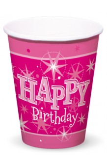 "Vasos Rosas ""Happy Birthday"", 8 uds."