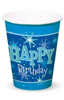 "Vasos Azules ""Happy Birthday"", 8 uds."