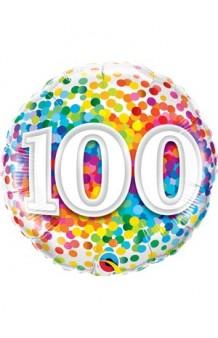 "Globo ""100"" Rainbow, 46 cm."