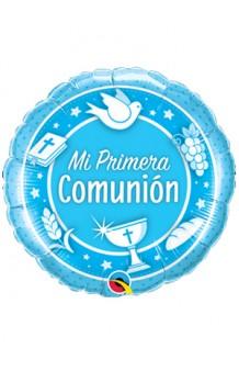 """Globo """"Mi Primera Comunión"""" Azul, 46 cm."""