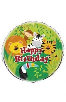 "Globo ""Happy Birthday"" Animales Jungla, 46 cm."