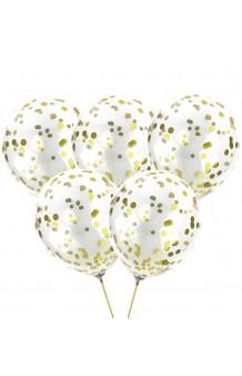 Globos Transparentes Confetti Dorado, 30 cm. (5 uds.)