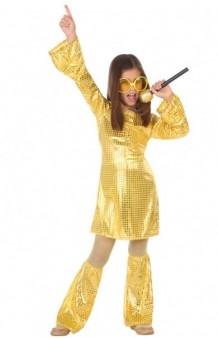 Disfraz Chica Disco Oro