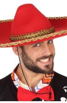 Sombrero Mariachi Rojo, 58 cm.