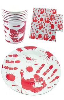 Set Menaje Manos de Sangre: 6 Platos + 6 Vasos + 6 Servilletas