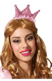 Diadema Corona Princesa Rosa
