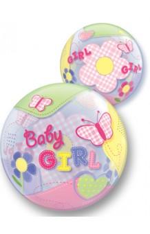 "Globo Burbuja ""Baby Girl"" Mariposas, 56 cm."