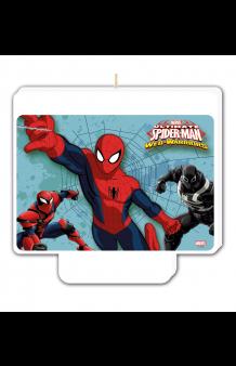 """Vela Spiderman """"Happy Birthday"""", 9 x 8 cm."""