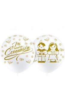 """Globos Blancos """"Mi Primera Comunión"""" 100 cm. Pro-Quality, 8 uds."""