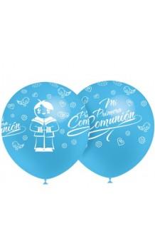 "Globos Azul Celeste ""Mi Primera Comunión"" 100 cm. Pro-Quality, 8 uds."