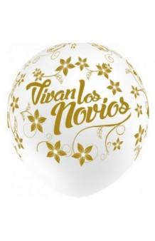 """Globos Blancos """"Vivan los Novios"""" 100 cm. Pro-Quality, 8 uds"""