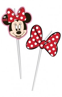 Pajitas Minnie Mouse, 6 uds.