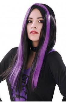 Peluca Bruja Negra & Violeta