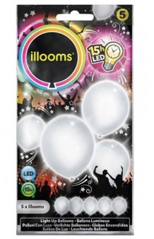 Globos Blancos Luminosos LED, 5 uds.