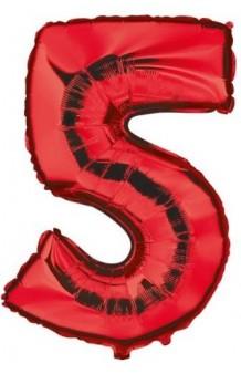 """Globo """"5"""" Rojo, 100 cm."""