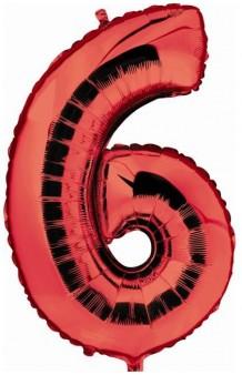 """Globo """"6"""" Rojo, 100 cm."""