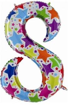 """Globo """"8"""" Multicolor Holográfico, 100 cm."""
