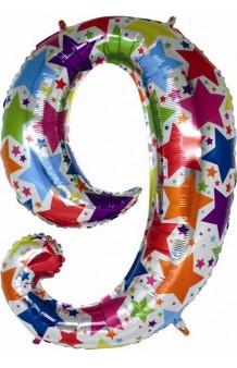 """Globo """"9"""" Multicolor Holográfico, 100 cm."""