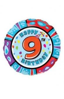 "Globo ""Happy Birthday"" Nº 9, 46 cm."