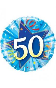 """Globo """"50"""" Estrella Azul, 46 cm."""