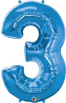 """Globo """"3"""" Azul, 102 cm."""