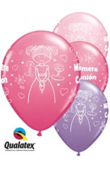 Globos Primera Comunión Rosas/Lilas, 5 uds. (100 cm.)