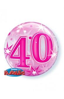 """Globo """"40"""" Rosa Burbuja, 56 cm."""