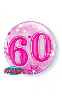 """Globo """"60"""" Rosa Burbuja, 56 cm."""