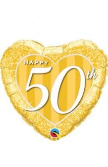 """Globo """"Happy 50th"""" Corazón Dorado, 46 cm."""