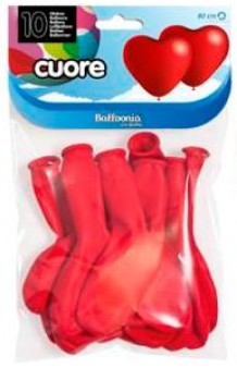 Globos Corazones Rojos 80 cm. Pro-Quality, 10 uds.