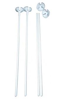 Varillas Blancas, 50 cm. + Soportes Globos, 12 uds.