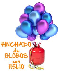 Hinchado de globos con helio. Festiplanet tienda de disfraces y regalos